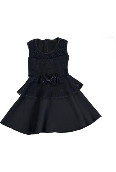 Roman Artos Simli Siyah Doğum Günü Düğün Kız Çocuk Abiye Elbise