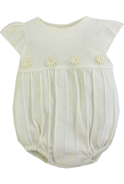 White Baby Papatyalı Kız Bebek Şort Tulum 1343 Ekru