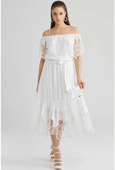 Guitar Kadın 20036 Beyaz Elbise