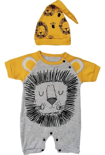 Murat Baby Aslan Baskılı Şapkalı Kısa Bebek Tulum