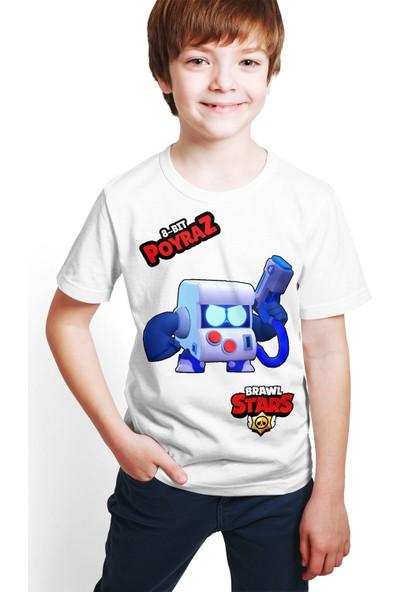Brawl Stars - 8 Bit - Dijital Baskılı Beyaz Kişiye Özel T-Shirt E-03