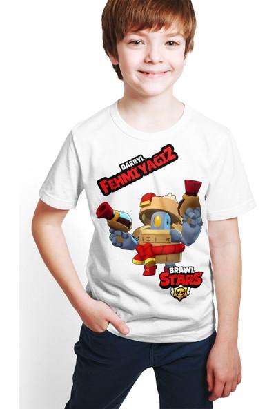 Brawl Stars - Darryl - Dijital Baskılı Beyaz Kişiye Özel T-Shirt E-02