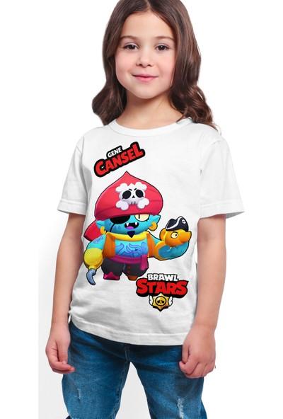 Brawl Stars - Gene - Dijital Baskılı Beyaz Kişiye Özel T-Shirt K-04