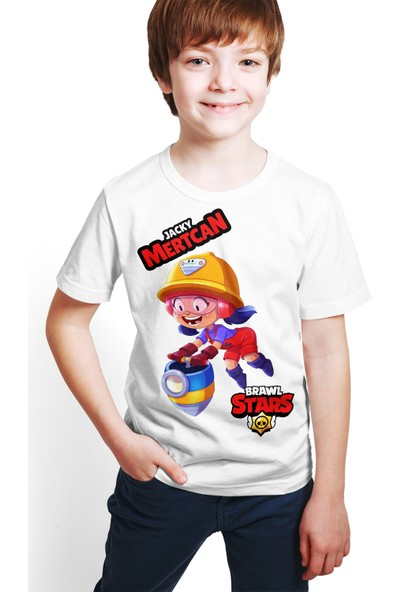 Brawl Stars - Jacky - Dijital Baskılı Beyaz Kişiye Özel T-Shirt E-01