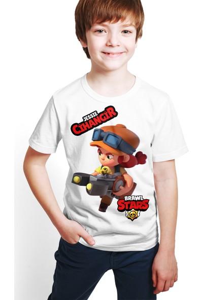 Brawl Stars - Jessie - Dijital Baskılı Beyaz Kişiye Özel T-Shirt E-04