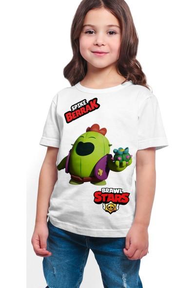 Brawl Stars - Spike - Dijital Baskılı Beyaz Kişiye Özel T-Shirt K-04