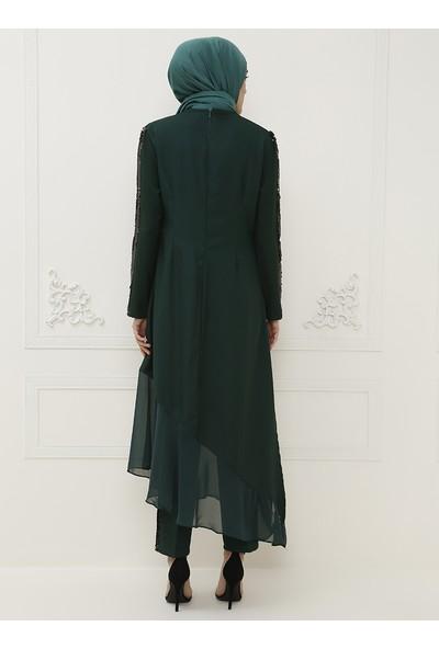 Ayşe Melek Tasarım Tunik Pantolon İkili Abiye Takım Zümrüt