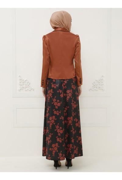 Ayşe Melek Tasarım Ceket Elbise İkili Abiye Takım Kiremit