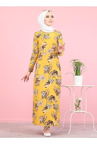 Tofisa Çiçekli Krep Elbise Hardal