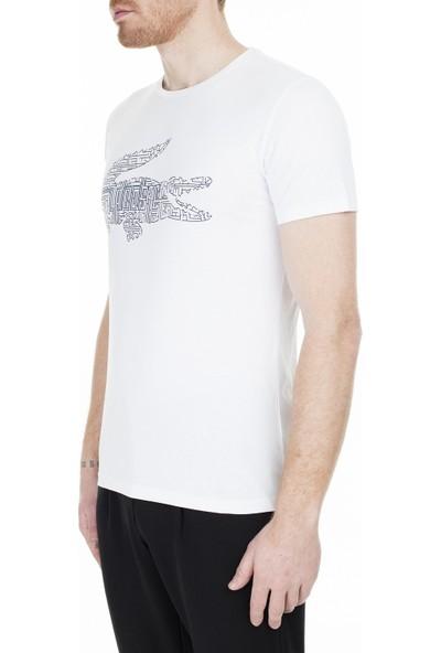 Lacoste Baskılı Bisiklet Yaka T-Shirt Erkek T-Shirt Th0027 27A