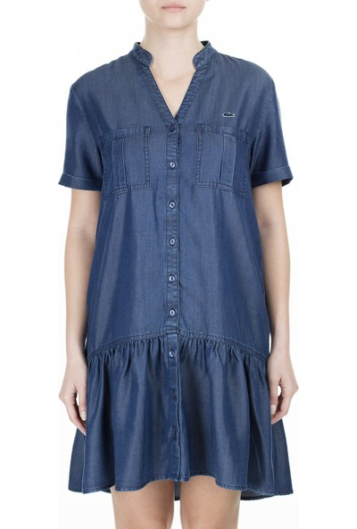 Lacoste V Yaka Kısa Kollu Elbise Kadın Elbise Ef0015T 15L