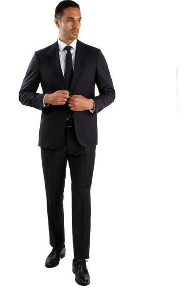 Dufy Lacivert Düz Erkek Takım Elbise - Regular Fit