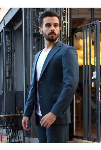 Dufy Petrol Düz Erkek Takım Elbise - Regular Fit