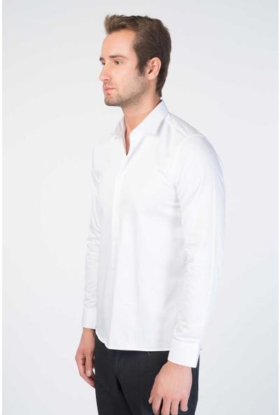 Centone Comfort Fit Uzun Kol Gömlek 19-0388 Beyaz XXL