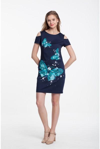 Reaction Exclusive Kelebek Desenli Kol Detaylı Kadın Mint Elbise 3315