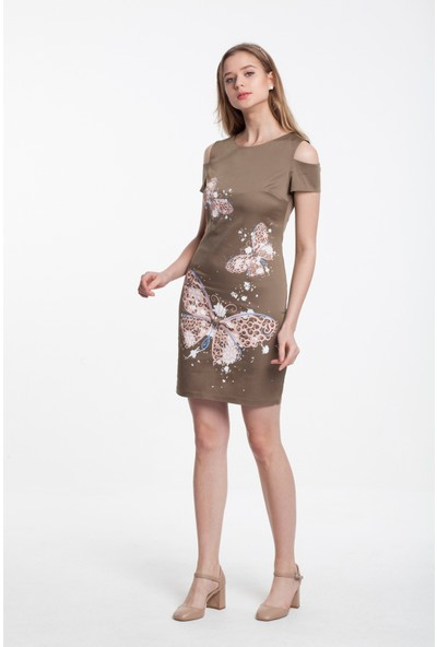 Reaction Exclusive Kelebek Desenli Kol Detaylı Kadın Haki Elbise 3315