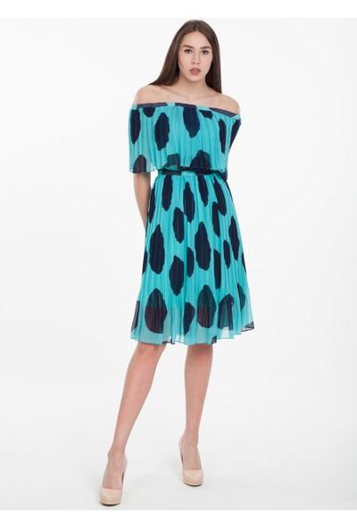 Reaction Exclusive Puantiyeli Carmen Yaka Kadın Mint Elbise 3669