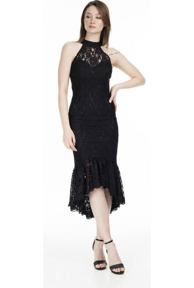 Ayhan Halter Yaka Dantel Kadın Elbise 04661219