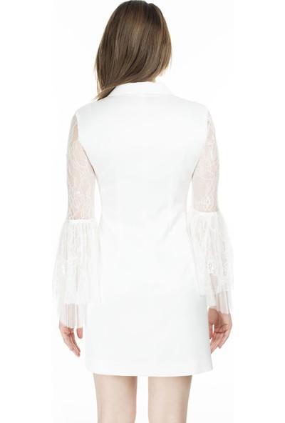 Ayhan V Yaka Kolları Tül Kadın Elbise 04661417