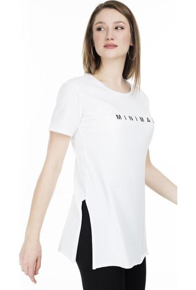 Lela Bisiklet Yaka Yırtmaç Detaylı T-Shirt 5411063M