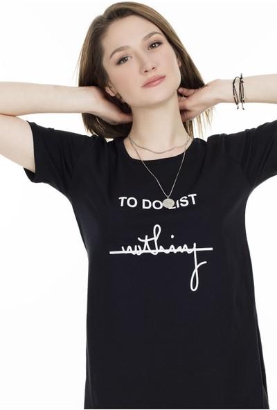 Lela Bisiklet Yaka Yırtmaç Detaylı T-Shirt 5411063Tdl