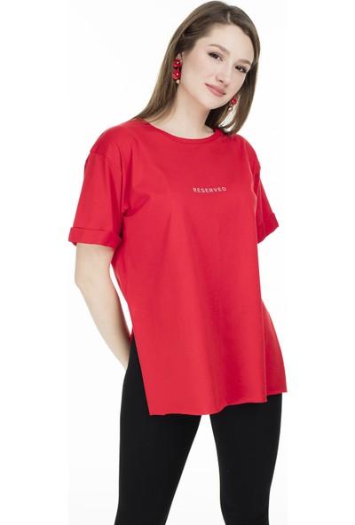 Lela Bisiklet Yaka Yırtmaç Detaylı T-Shirt 5411068