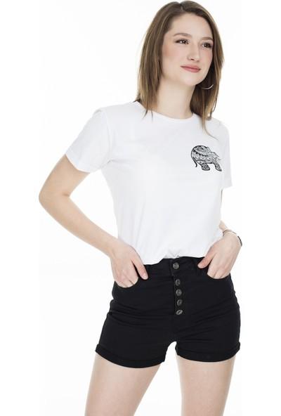 Lela Baskılı Bisiklet Yaka T-Shirt 5411069D
