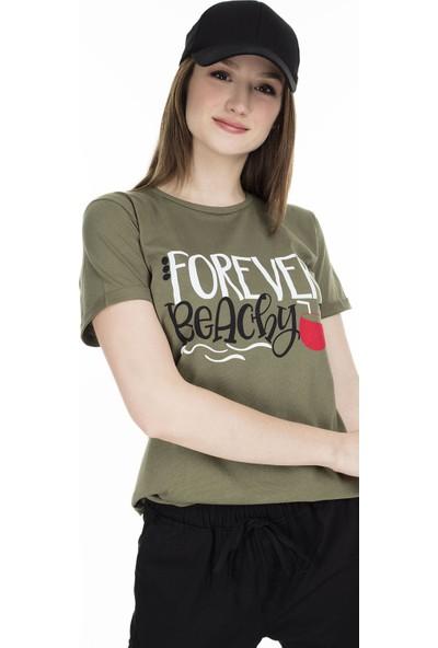 Lela Baskılı Bisiklet Yaka T-Shirt 5411069F