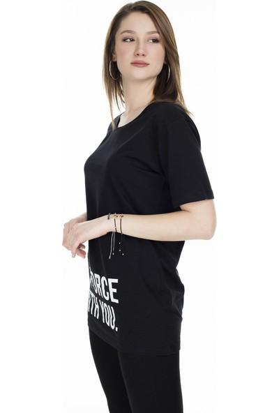 Lela Bisiklet Yaka Yazı Baskılı T-Shirt 5411074