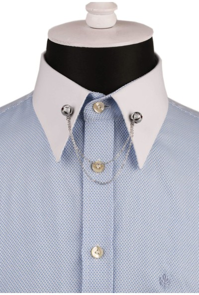 Kravatkolik Bal Rengi Taşlı Zincirli Gömlek Yaka Iğnesi GI138