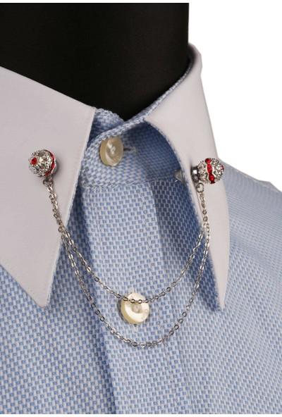Kravatkolik Kırmızı Taşlı Zincirli Gümüş Renk Gömlek Yaka Iğnesi GI131