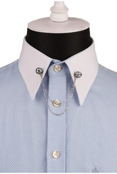 Kravatkolik Bordo Taşlı Zincirli Gümüş Renk Gömlek Yaka Iğnesi GI136