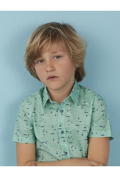 Ollie&Olla Yelkenli Turkuaz Erkek Çocuk Gömlek