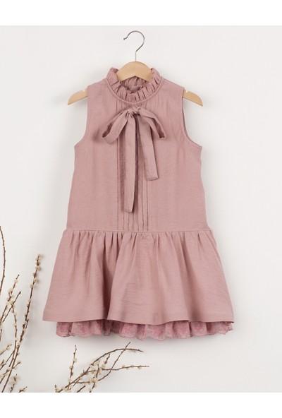 Ollie&Olla Brodeli Bağcıklı Kız Elbise