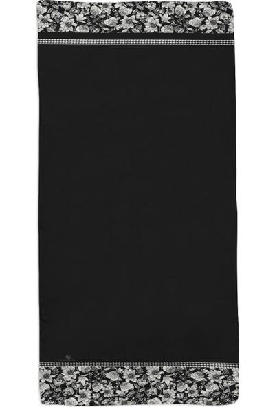 Lanjeron Çiçekli Desenli Pamuk Şal Siyah 89853.992