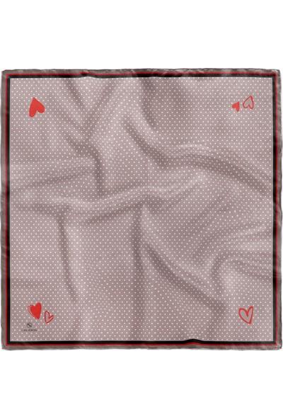 Lanjeron Kalp Desenli Saten Eşarp
