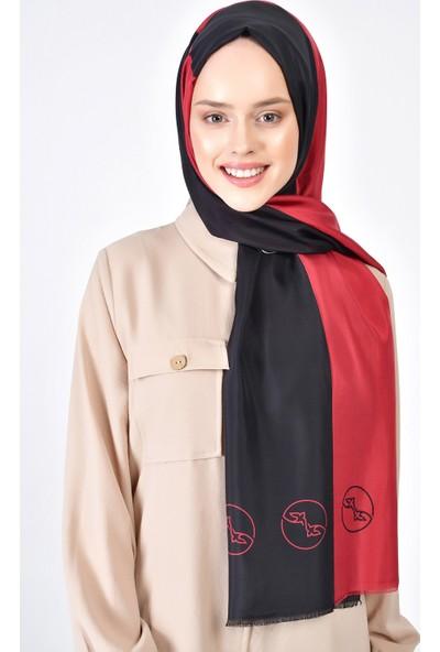Lanjeron Logo Desenli İpek Şal Kırmızı Siyah LN.IS