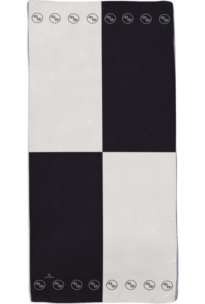 Lanjeron Logo Desenli İpek Şal Siyah Beyaz LN.IS.1