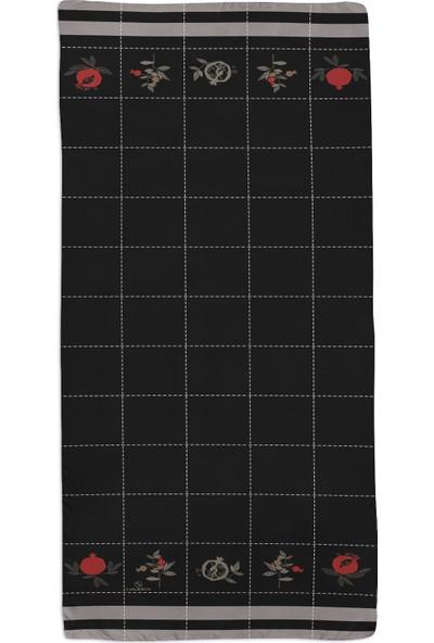 Lanjeron Nar Desenli Pamuk Şal Siyah 89914.9920008