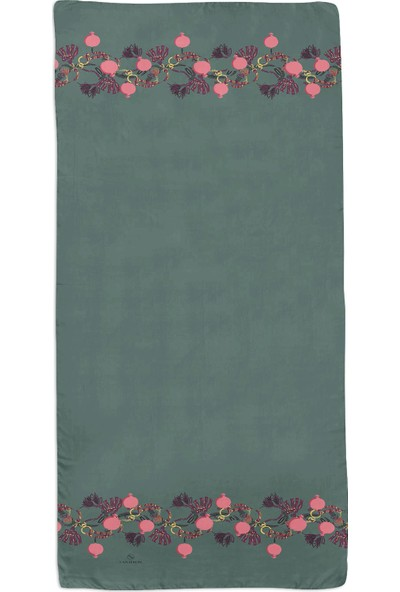 Lanjeron Nar Desenli Pamuk Şal Su Yeşili 89864.992