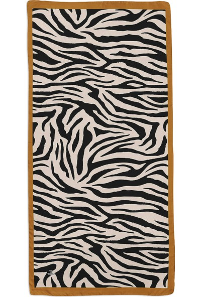 Vertu Zebra Desenli Pamuklu Şal Hardal 77840.5255.