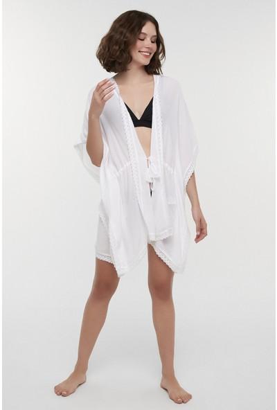 Penti Kırık Beyaz Cute Kimono