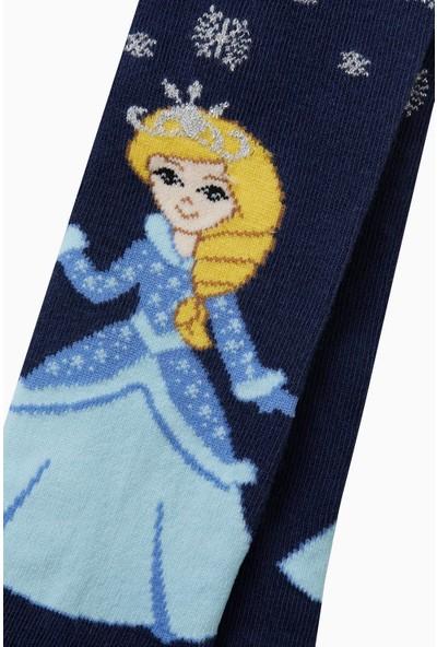 Bross Tekstil Prenses Desenli Külotlu Çocuk Çorabı Lacivert
