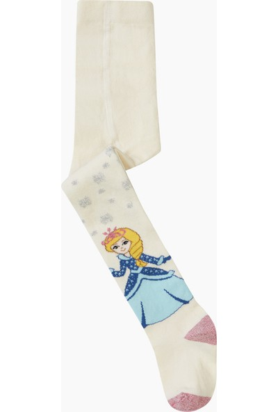 Bross Tekstil Prenses Desenli Külotlu Çocuk Çorabı Ekru