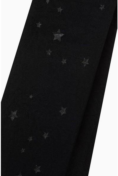 Bross Tekstil Yıldız Desenli İnce Külotlu Çocuk Çorabı Siyah