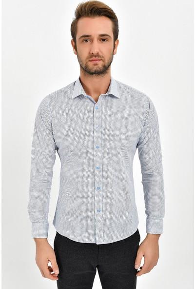 Centone Slim Fit Uzun Kol Gömlek 19-0349 Mavi L