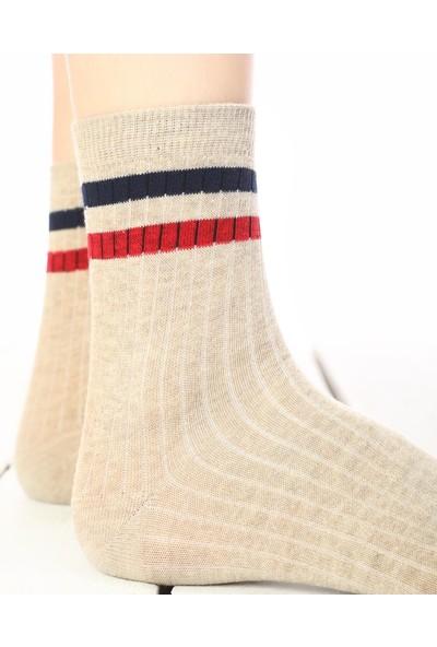 Brogetti Serena Kırmızı-Lacivert Çizgili Çorap