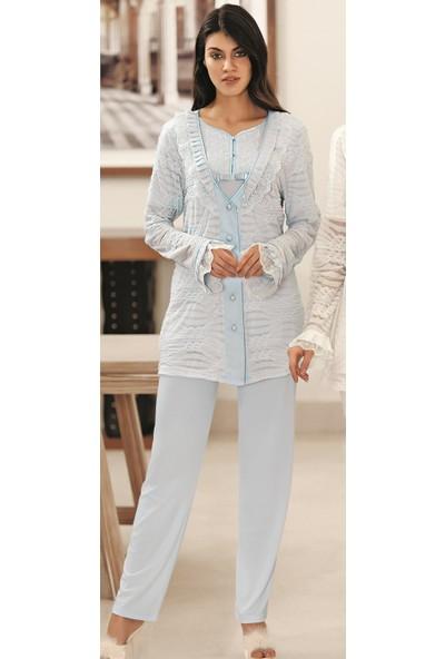 Fc Fantasy Güpür İşleme Sabahlıklı 3'lü Lohusa Pijama Takımı