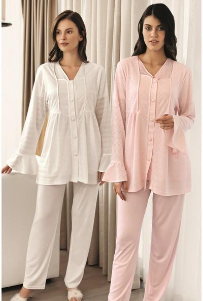 Fc Fantasy Jakar Sabahlıklı 3'lü Lohusa Pijama Takımı