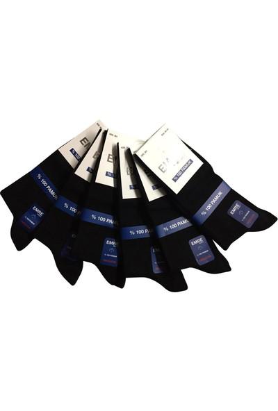 Emre Siyah 10'lu Organik Pamuklu Mevsimlik Erkek Çorap %97 Pamuklu